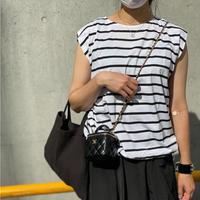 スリーブレス裾ドロストPO (ホワイト×ブラック)