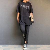 ユニセックスパロディフロッキープリント tシャツ(ブラック)