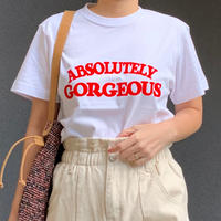 ABSOLUTELY GORGEOUS ロゴTシャツ(ホワイト✖️レッド)