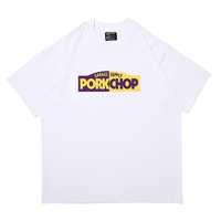 PORKCHOP GARAGE SUPPLY -BLOCK LOGO TEE  (WHITE)