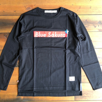 "BLUE SAKURA -  STEP L/S T-SHIRT ""BOX-LOGO""【ブラック】"