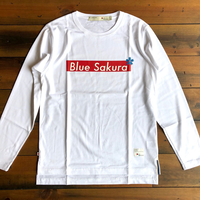 "BLUE SAKURA -  STEP L/S T-SHIRT ""BOX-LOGO""【ホワイト】"