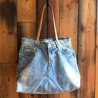 BLUE SAKURA - D&C DENIM TOTE BAG (L-IND/Leather)