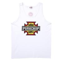 PORKCHOP GARAGE SUPPLY - BAR&SHIELD TANK TOP (WHITE)