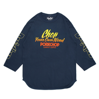 PORKCHOP - CHOP YOUR OWN WOOD BASEBALL TEE/INDIGO BLUE