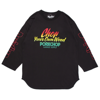 PORKCHOP - CHOP YOUR OWN WOOD BASEBALL TEE/ASH BLACK