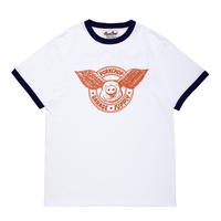 PORKCHOP - WING PORK RINGER TEE (WHITE×ORANGE)