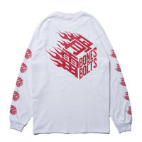 BONES AND BOLTS - L/S TEE (FLAMES BOX LOGO) ホワイト