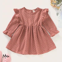 受注発注【68〜92cm】Frill Trim Polka Dot A-line Dress