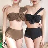 【LADIES】Solid Twist One Shoulder Bikinis ツイスト ワンショルダー ビキニ