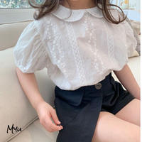 【90-150cm】 Round Collar Puff Sleeve Cotton Blouse 丸襟 パフスリーブ コットンブラウス