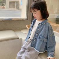 【80-150cm】JACKET  裾フリンジデニムジャケット