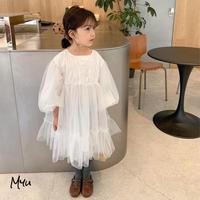 【80-150cm】TULLE DRESS ボリュームスリーブ チュールワンピース