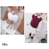 受注発注🇰🇷【73-120cm】Side Bow Layered Shirt dress サイドリボン レイヤード シャツワンピース