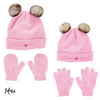お急ぎ便対応 受注発注🇺🇸【Baby〜Kids】carter's 2Piece cat hat&mitten(glove)set