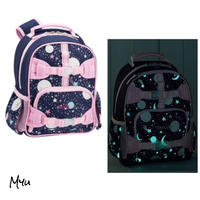 お急ぎ便対応 受注発注🇺🇸【Small】Pottery Barn Mackenzie Pink Navy Glow-in-the-Dark Moons Backpack