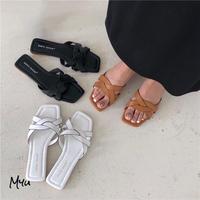 【LADIES】Simple Cross Square Toe Flat Sandal シンプルクロス スクエアトゥ フラットサンダル
