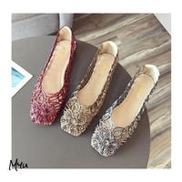 受注発注【Ladies】Mesh flower flat shoes