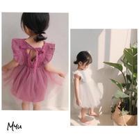 【80-120cm】Back Bow Cotton Lace Tulle Dress リボン付きコットンレースチュールワンピース