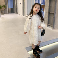 【80-150cm】DRESS スタンドカラー ボリュームスリーブ ワンピース