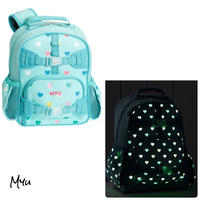 お急ぎ便対応 受注発注🇺🇸【Mini】Pottery Barn Mackenzie Aqua Multi Heart Glow-in-the-Dark Backpack
