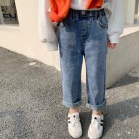 【80-150cm】JEANS 裾切りっぱなしストレートジーンズ