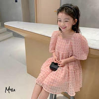 【90-150cm】Square Neck Puff Sleeve Princess Dress スクエアネック パフスリーブ プリンセス ワンピース