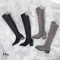 受注発注🇰🇷【LADIES】Custom Heel Suède Knee-high Boots(ヒールの高さ選べます!)