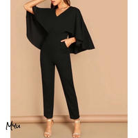 お急ぎ便対応 受注発注🇺🇸【LADIES】V-neck Solid Cape Jumpsuit