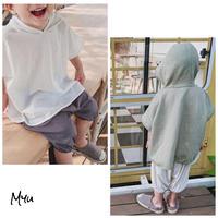 【90-130cm】Cotton Linen Hooded T-shirt 綿麻フード付きTシャツ