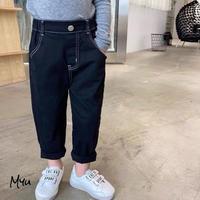 【90-130cm】JEANS ホワイトステッチ ブラックジーンズ