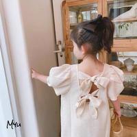 【80-130】Back Bow Cotton Linen Long Dress バックリボン 綿麻 ロング ワンピース