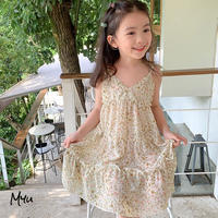 【110cm】Floral Chiffon Camisole Dress 花柄シフォン キャミソール ワンピース
