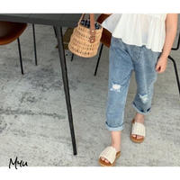 【80-150cm】Ripped Straight Jeans ダメージ加工ストレートジーンズ