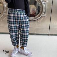 【80-130cm】Flannel Tartan Plaid Pants フランネル タータンチェック パンツ