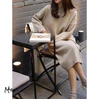 受注発注🇰🇷【LADIES】Drop Shoulder Solid Knit Dress