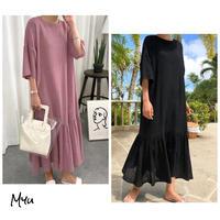 【LADIES】Cotton Linen Drop Shoulder Dress 綿麻ドロップショルダーゆったりワンピース