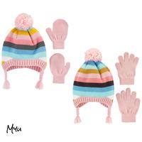お急ぎ便対応 受注発注🇺🇸【Baby〜Kids】carter's 2-Piece border hat&mitten(glove)set