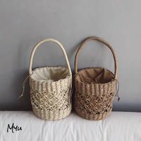 【LADIES】Cylindrical  Purse Basket bag 筒型巾着カゴバッグ