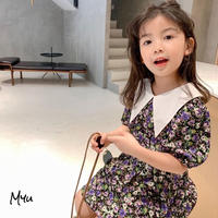 【90,100,140cm】DRESS バリモアカラー花柄ワンピース