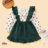お急ぎ便対応 受注発注 🇺🇸【80〜120cm】polka dot blouse & ruffle trim