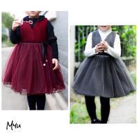 受注発注🇰🇷【90-135cm】Waist Bow Wool  Tulle Dress ウエストリボン ウール チュール ワンピース