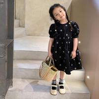 【90-150cm】DRESS コットンフラワー刺繍ワンピース