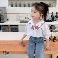 【140cm】BLOUSE バリモアカラー 刺繍ブラウス