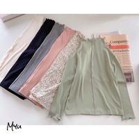 【90-150cm】 LONG T-SHIRT  ハイネック 細リブロングTシャツ