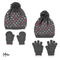 お急ぎ便対応 受注発注🇺🇸【Baby&Kids】2-Piece heart hat&mitten(glove)set