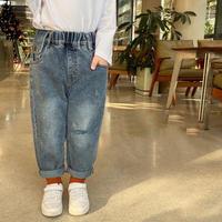 【80-140cm】JEANS クラシック ダメージ ストレート ジーンズ