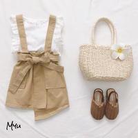 受注発注🇰🇷【80-130cm】Waist Bow Jumper Skirt ウエストリボンジャンパースカート