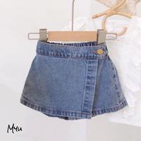 【80-120cm】Denim Short Pants ラップスカート風デニムショートパンツ