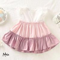 お急ぎ便対応 受注発注🇺🇸【68-92cm】Frill trim cut and sew A-line dress